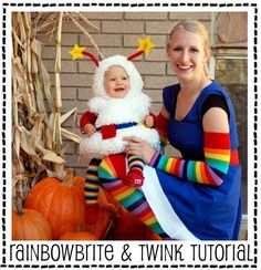 Rainbow Brite and her trusty sidekick Twink Halloween costume. OMG!  Love this - Rainbow brite was my fav (...still kinda is)