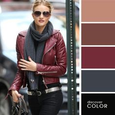 Rosie Huntington Whiteley in burgundy leather jacket and Burberry Manor bag - Outfit ideas and street Colour Combinations Fashion, Color Combinations For Clothes, Fashion Colours, Burgundy Leather Jacket, Leather Jacket Outfits, Leather Jackets, Red Leather, Fall Fashion Trends, Autumn Fashion