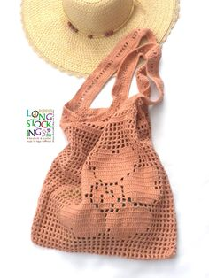 One-of-its-kind: Pippi's Flower Tote, Crochet Shoulder Bag, in Pale Peach,Spring, Summer, Autumn, Fall, Fashion, Beach, Rustic. $42.00, via Etsy.
