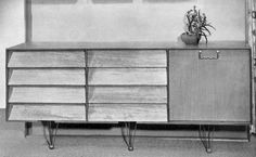 a graphically interesting, Knoll-looking sideboard on hairpin metal legs by Ian Bradbury (1204×744)