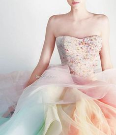 Rami Kadi Les Jardins Suspendus Spring Couture // pastel rainbow wedding gown // PHOTO BY Odette Kahwaji Pastel Gown, Strapless Dress Formal, Prom Dresses, Dress Prom, Dress Hire, Strapless Corset, Dresses 2014, Formal Dress, Dress Outfits