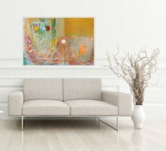 Landscape Abstract Painting, Modern Artwork, White Orange, Brown Red, Grey Orange, Large Painting, Modern Art, Colorful Art 100 x 70 cm by AjdinovicStudio on Etsy