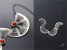 Sweet oranges silver coral filigree necklace por SztukKilka