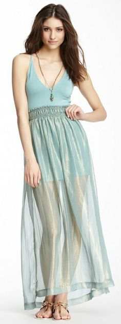 Metallic Sheen Mint Maxi Dress