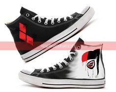 Harley Quinn Custom Converse / Painted Shoes by FeslegenDesign