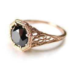 Filigree Antique Vintage Engagement Black Diamond Rose Gold Ring