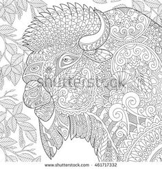 Stylized buffalo (american bison, bull, ox, yak, aurochs) among birch tree leaves. Freehand sketch for adult anti stress coloring book page with doodle and zentangle elements.