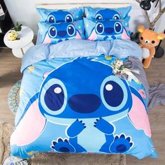 Disney Lilo and Stitch Bedding Set Quilt Cover Blue Comforter Cover Boy Room Decor Bed Clothes King Bed Cover Pillow Cases Blue Bedding Sets, Blue Comforter, Kids Bedding Sets, Comforter Cover, Queen Bedding Sets, Duvet Covers, Cover Pillow, Pillow Shams, Pillow Cases