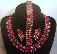 Vintage Kramer Ruby Red Pink Rhinestone Necklace Bracelet Earrings