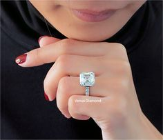 Asscher Diamond Engagement ring 10.18 ct J color VS1 Asscher Cut Diamond Engagement Ring, Diamond Cuts, Diamond Earrings, Color, Jewelry, Jewlery, Jewerly, Colour, Schmuck