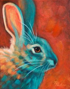 """Daily Paintworks - """"Cottontail"""" - Original Fine Art for Sale - © Theresa Paden"""