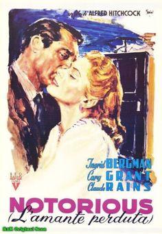 NOTORIOUS CLASSIC MOVIE POSTER stars Ingrid Bergman & Cary Grant ITALIAN VERSION