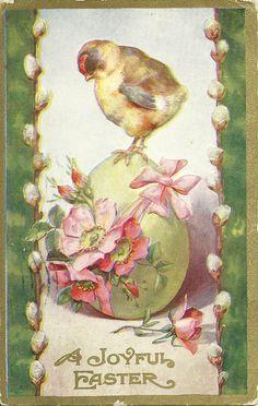 Easter Chick Stands on Egg Filled with Dogwood Blossoms ~ Vintage Postcard Easter Art, Easter Crafts, Vintage Easter, Vintage Holiday, Fete Pascal, Easter Illustration, Easter Pictures, Easter Parade, Easter Printables