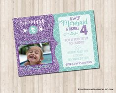 Mermaid Birthday Invitation with starfish, glitter and picture - Modernes Picture Invitations, Digital Invitations, Custom Invitations, Birthday Invitations, Under The Sea Party, Mermaid Birthday, I Am Happy, Baby Pictures, Color Show