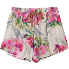 Elizabeth & James Floral Ozzy Shorts ($265) ❤ liked on Polyvore featuring shorts, bottoms, short, pants, drawstring shorts, draw string shorts, floral shorts, floral printed shorts and elastic waist shorts
