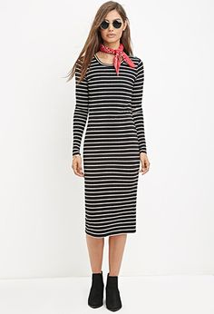 Striped Midi Dress | Forever 21 - 2000174479