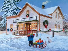 'One Stop Shopping'-'art by John Sloane<> (rustic, rural, country Christmas)
