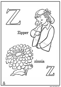 Alphabet Z With Picture Coloring Pages ZIPPER ZINNIA
