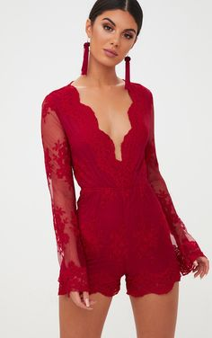 Red Lace Bell Sleeve Romper Red - Jumpsuits and Romper Red Romper, Playsuit Romper, Lace Romper, Dress Red, Prom Dress Shopping, Online Dress Shopping, Bell Sleeve Dress, Bell Sleeves, Formal Romper