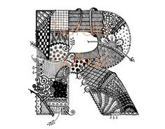 Zentangle Alphabet | Doodling, Zentangle / Doodle Alphabet Print 85x11 Letter R by ...