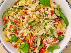 Sommerlich leichter Reissalat Summery light rice salad (recipe with picture) by Calorine Rice Salad Recipes, Healthy Salad Recipes, Vegetarian Recipes, Easy Salads, Grilling Recipes, Summer Recipes, Food Pictures, The Best, Chicken Recipes