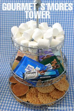 Gourmet S'mores Tower with goodies from @Cost Plus World Market - great Father's Day present! #celebratedad