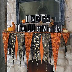 Bewitching Halloween Mantel Scarf and wood block letters