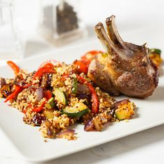 Beautifully seasoned, tender lamb cutlets served with a scrumptious vegetable quinoa side. AND only takes 30 mins! Vegetable Quinoa, Onions, Chicken Wings, Tomatoes, Lamb, Turkey, Stuffed Peppers, Dishes, Vegetables