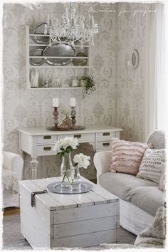 Shabby Chic Home Decor Country Cottage Living Room, Home Living Room, Cottage Chic, Living Room Designs, Living Room Decor, Interior Exterior, Home Interior, Interior Design, Shabby Chic Homes