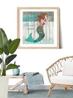 Mermaid #print #gicleeprint on Fine Art Paper #walldecorart #wallart #mermaidart #mermaidprint #autism #autismawareness #mermaid #walldecor #coastaldecor #coastalart #coastalhome