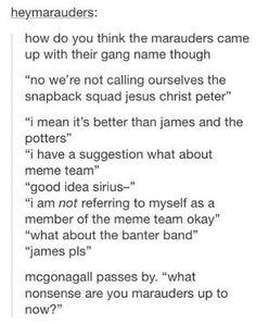 OK McGonagall naming the marauders is what happened and no one can tell me anything else