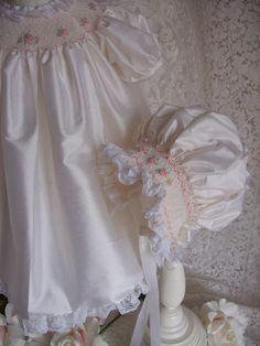 Silk Smocked Baby Bonnet