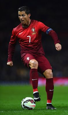Cristiano Ronaldo of Portugal in action during the International Friendly between Argentina and Portugal at Old Trafford on November 18, 2014 in Manchester, England.
