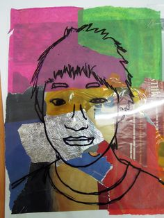 Andy Warhol style portrait in Art using a print out of their photo, magazine & construction papers and overhead transparency