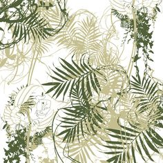 Papel pintado Tres Tintas Sara Palmer Motif Tropical, Nature Sauvage, English Country Cottages, Living Room Green, Wall Paint Colors, Botanical Illustration, Photo Book, Decoration, Design Art