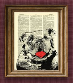 ENGLISH BULLDOG  bull dog beautifully upcycled by collageOrama, $7.99