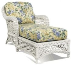 White Wicker Chaise ~ Traditional patio furniture and outdoor furniture~ I want one of these!  This is the fabric/print I have on my loveseat in livingroom.  Also made valance for the Bay window using same material. Have Blue sofa and two neutral chairs.  Would love to have this lounger!!!