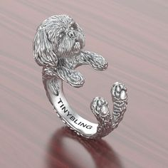 Handmade Shih Tzu Jewelry. 925 Sterling Silver Cuddle by TinyBling
