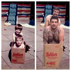 brothers recreate childhood photos for parents wedding anniversary. Love it!