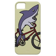 Silly Shark Riding Bicycle Cartoon iPhone 5 Case #sharks #bicycles #funny #iphone5 #case And www.zazzle.com/tickleyourfunnybone*