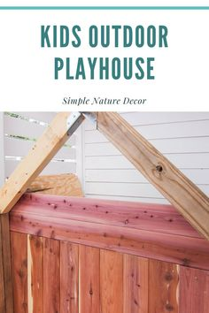 Make this easy outdoor playhouse with cedar planks. DIY on the blog. #cedarplayhouse #outdoorplayhouse #kidsplayhouse Diy Furniture On A Budget, Simple Furniture, Inexpensive Furniture, Furniture Making, Cedar Playhouse, Build A Playhouse, Playhouse Outdoor, Woodworking Basics, Woodworking Books