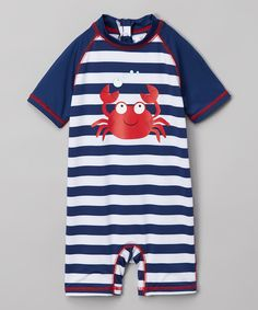 Another great find on #zulily! Wippette Red & White Stripe Crab One-Piece Rashguard - Infant by Wippette #zulilyfinds