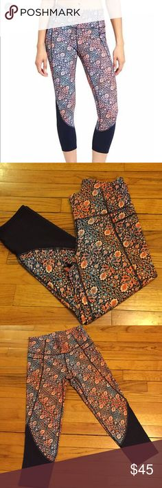 NWOT Athleta Chaturanga Tapestry High Rise Capri S Never worn, NWOT, Athleta Chaturanga Tapestry Capri with High Rise Waist. Super soft and comfortable. Perfect for working out or casual wear. Athleta Pants Capris