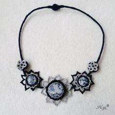 Crochet necklace Night Sky/Háčkovaný náhrdelník Noční obloha