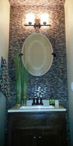 Love the idea of having tile on one wall for our half bath