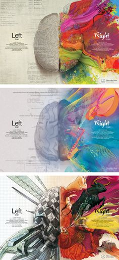 Benz left/right brain infographic ad set. , Mercedes Benz left/right brain infographic ad set. , Mercedes Benz left/right brain infographic ad set. Left Brain Right Brain, 7 Arts, Brain Art, Brain Drawing, You Draw, Art Graphique, Art Therapy, Les Oeuvres, Amazing Art