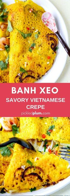 Banh Xeo Recipe – This Vietnamese crepe recipe made with rice flour and turmeric is stuffed with shrimp, sprouts, leafy greens and fresh cilantro. Vietnamese Crepes, Vietnamese Cuisine, Healthy Vietnamese Recipes, Vietnamese Banh Xeo Recipe, Healthy Recipes, Vegetarian Vietnamese, Vegetarian Italian, Seafood Recipes, Dinner Recipes