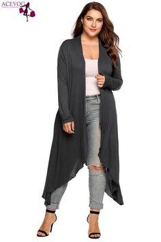 ba90f641b177 ACEVOG Long Cardigan Women Plus Size Autumn Open Front Solid Draped  Asymmetrical Hem Long Sleeve Thin