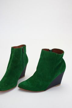 "Rachel Comey Rogue Boot    Emerald green suede boot with 3 1/2"" heel, side zippers.   Made in Peru  $420.00"