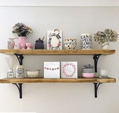 Rustic scaffolding board shelves made to order from up to Each shelf is complete with a pair of our cast iron shelf brackets. Shelf Brackets Design, Cast Iron Shelf Brackets, Shelving Brackets, Narrow Shelves, Metal Shelves, Oak Wall Shelves, Solid Wood Shelves, Scaffold Shelving, Open Shelving